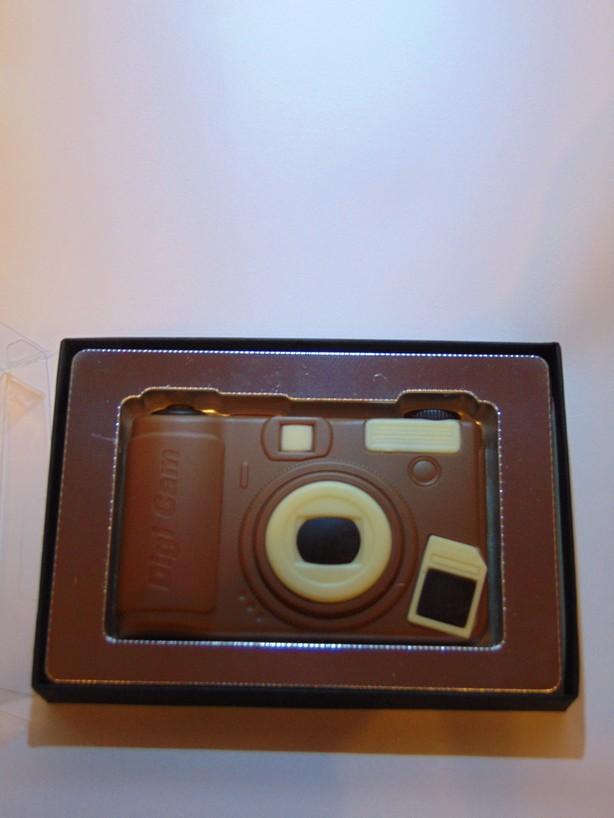 Fototoestel in melkchocolade VDV Chcolaterie melkchocolade camera fototoestel in chocolade online bestellen Belgische chocolade