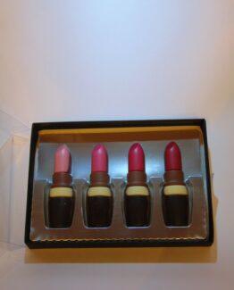 VDV Chocolaterie lippenstift melkchocolade online bestellen Belgische chocolade afgewerkt met witte, pure en gekleurde melkchocolade